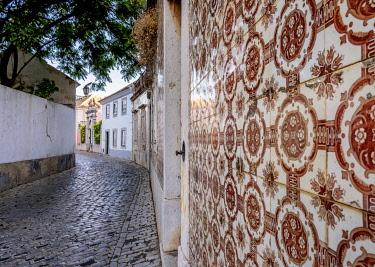 POR10474AW Azulejos on the street of Faro, Algarve, Portugal