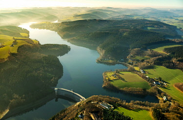 IBLBLO04795017 Aerial view, Listertalsperre dam, Biggesee, Biggetalsperre, reservoir, low water, low water, water shortage, Olpe, Sauerland, North Rhine-Westphalia, Germany, Europe