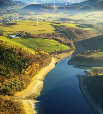 IBLBLO04795044 Aerial view, Hennetalsperre, reservoir at low water, water shortage, drought, Meschede, Sauerland-Rothaargebirge nature park Park, Sauerland, North Rhine-Westphalia, Germany, Europe