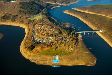 IBLBLO04795068 Aerial view, Biggesee, Biggetalsperre, reservoir at low water, water shortage, Howald, Olpe, Sauerland, North Rhine-Westphalia, Germany, Europe