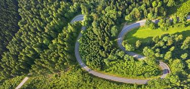 IBLBLO03726866 Aerial view, sharp curves on the road L870, Hoppecke, Brilon, North Rhine-Westphalia, Germany, Europe
