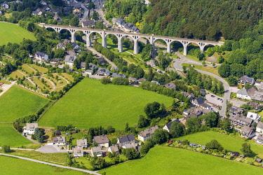 IBLBLO03727243 Aerial view, Willingen viaduct, Stryck, Willingen - Upland, Hesse, Germany, Europe