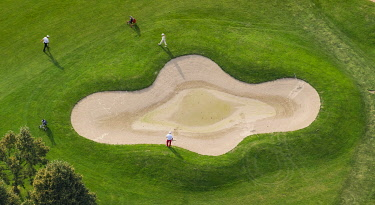 IBLBLO03769210 Aerial view, golf course, Golfclub Op de Niep, Neukirchen-Vluyn, North Rhine-Westphalia, Germany, Europe