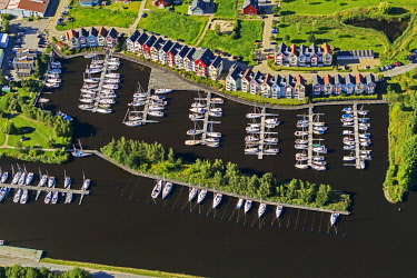 IBLBLO03091039 Aerial view, Greifswald marina on the Ryck River, colourful row of houses, Greifswald, Mecklenburg-Western Pomerania, Germany, Europe