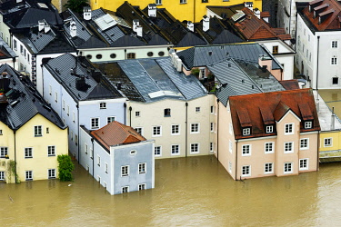 IBLRAI03377256 Flooded houses in the historic town centre alongside the Danube River during the floods on 3rd June 2013, Passau, Lower Bavaria, Bavaria, Germany, Europe