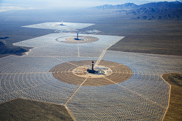 IBLWES03152083 Brightsource Ivanpah Solar Electric Generating System, a solar thermal electric generating facility, Mojave Desert, San Bernardino County, California, United States, North America