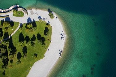 IBXFFF03786544 Aerial view, Lake Molveno mountain lake, Molveno, Trentino, Italy, Europe