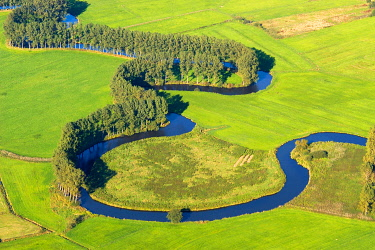 IBLHWE03737726 Aerial view, the Schwinge river, natural river landscape with trees, Stade, Lower Saxony, Germany, Europe