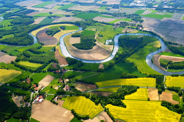 IBLHWE03470416 Aerial view, river landscape, Ems River, Emsbüren, Lower Saxony, Germany, Europe