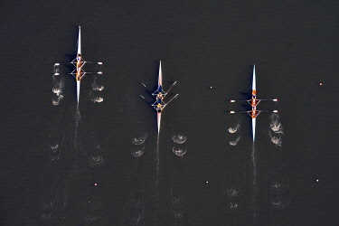 IBLHWE03493204 Aerial view, rowing competition, rowing boats, Allermoehe regatta centre, Allermöhe, Hamburg, Hamburg, Germany, Europe