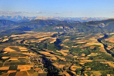 IBLHWE03721764 Plateau de Valensole, high plateau with many lavender fields, southern foothills of the Maritime Alps at back, Puimoisson, Département Alpes-de-Haute-Provence, Region Provence-Alpes-Côte d'Azur, Fra...