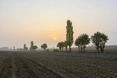 IBXTKE04796355 Harvested fields in autumn, Kraichgau, Baden-Württemberg, Germany, Europe