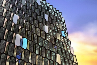 IBXANT04797567 Detail of the glass facade, Harpa, concert hall, ReykjavI�k, Iceland, Europe