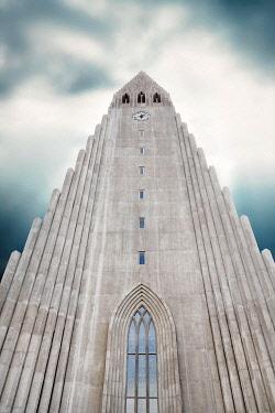 IBXANT04797622 Church tower with mystic sky, Hallgrímskirkja, church of Hallgrímur, Reykjavik, Iceland, Europe