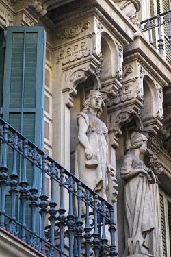 IBXCSP04252992 Facade with balcony, architecture building detail, Art Nouveau, Eixample district, Barcelona, Catalonia, Spain, Europe