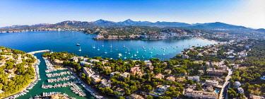 IBXMOX04802879 Aerial photo, view of Santa Ponca and the marina of Santa Ponca, behind the Serra de Tramuntana, Majorca, Balearic Islands, Spain, Europe