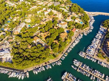 IBXMOX04802882 Aerial photo, view of Santa Ponca and the marina of Santa Ponca, behind the Serra de Tramuntana, Majorca, Balearic Islands, Spain, Europe