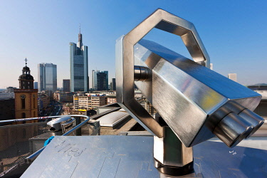 IBLMOX01879338 Telescope with a view over the financial district, Commerzbank Tower, European Central Bank, Deutsche Bank, Hessische Landesbank, OpernTurm Tower and St. Catherine's Church, Frankfurt am Main, Hesse,...