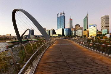 IBLPFM04784236 Foot bridge with city skyline, Elizabeth Quay, Perth, Western Australia, Australia, Oceania