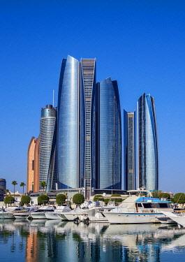 IBLKOZ04656011 Skyline with Marina and Etihad Towers, Abu Dhabi, United Arab Emirates, Asia