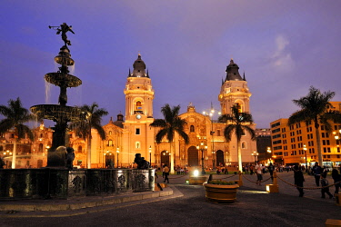 IBLFLK01888997 Cathedral at the Plaza Mayor or Plaza de Armas, evening mood, Lima, UNESCO World Heritage Site, Peru, South America
