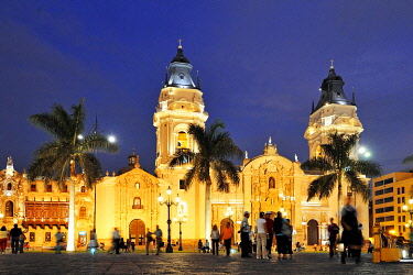 IBLFLK01888998 Cathedral at the Plaza Mayor or Plaza de Armas, evening mood, Lima, UNESCO World Heritage Site, Peru, South America