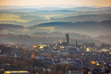 IBLBLO04809013 Aerial view, city view with catholic church St. Joseph and Medardus, hilly landscape at the back, Lüdenscheid, Sauerland, North Rhine-Westphalia, Germany, Europe