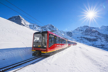 SWI8350AWRF Train to Jungfraujoch, Kleine Scheidegg, Berner Oberland, canton of Bern, Switzerland.