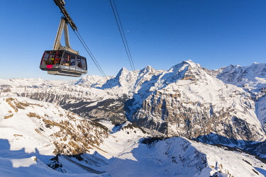 SWI8319AW Birg, Berner Oberland, canton of Bern, Switzerland. Cable car to Schilthorn with Eiger, Mönch and Jungrau