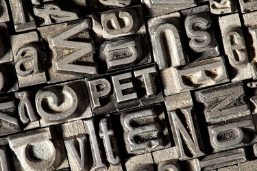 """IBLTSV02439892 Old lead letters forming the word """"PET"""""""