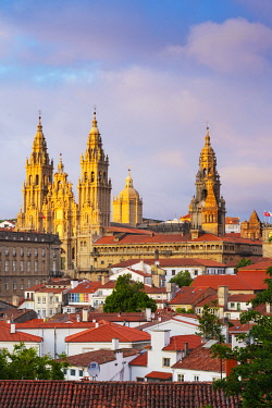 Spain, Galicia, Santiago de Compostela, view over rooftops to cathedral. UNESCO World Heritage site