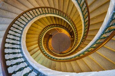 SPA8903AW Spain, Galicia, Santiago de Compostela, ' Triple spiral staircase of floating stairs, Convent of Santo Domingo de Bonaval