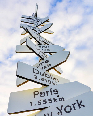 SPA8802AW Spain, Galicia, Finisterre, Sign showing various cities
