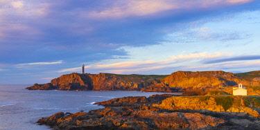 SPA8707AWRF Spain, Galicia, La Coruna, Meiras, Punta Frouxeira lighthouse and  Hermitage of Virgen del Puerto