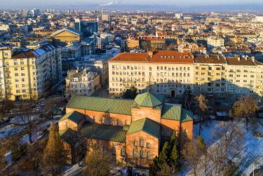 BUL0269 Europe, Bulgaria Sofia, aerial view of Saint Sofia church
