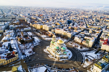 BUL0271 Europe, Bulgaria Sofia, aerial view of Alexander Nevsky Orthodox Cathedral in winter