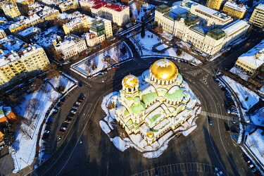 BUL0272 Europe, Bulgaria Sofia, aerial view of Alexander Nevsky Orthodox Cathedral in winter