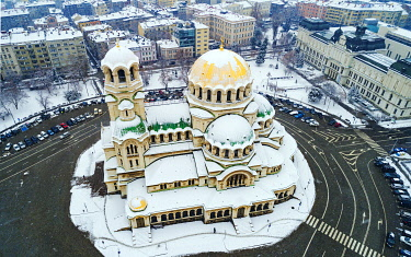 BUL0273 Europe, Bulgaria Sofia, aerial view of Alexander Nevsky Orthodox Cathedral in winter