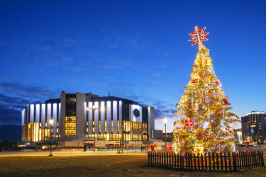 BUL0276 Europe, Bulgaria Sofia, NDK National Cultural Center with Christmas tree and decorations