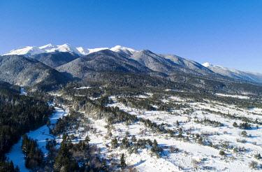 BUL0281 Europe, Bulgaria, Bansko, aerial view of Pirin National Park, Unesco site