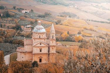 ITA13762AW Montepulciano, San Biagio church in autumn. Chianti Region, Tuscany, Italy