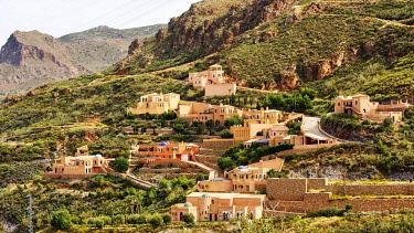 IBXANT04817737 View to the village Cortijo Cabrera, Sierra Cabrera, Almeria, Andalusia, Southern Spain, Spain, Europe