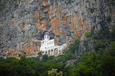 IBXCXB04804571 Ostrog Monastery built in rock, near Danilovgrad, Danilovgrad Province, Montenegro, Europe
