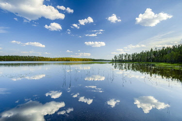 IBXGZS04804342 Clouds, forest, trees reflected in the lake, Hossa National Park, Ruhtinansa, Suomussalmi, Kainuu, Finland, Europe