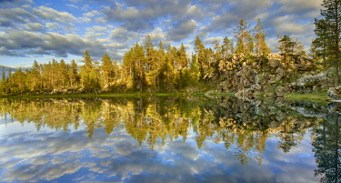 IBXGZS04808400 Pines (Pinus), clouds and rocks reflected in the lake, Kittila, Lappi, Finland, Europe