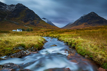 IBXSEI04810366 River Coupall with summit of Stob Coire and Stob Na Doire in the background, Glen Coe, west Highlands, Scotland, United Kingdom, Europe