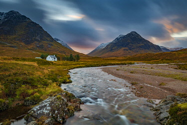 IBXSEI04810367 River Coupall with summit of Stob Coire and Stob Na Doire in the background, Glen Coe, west Highlands, Scotland, United Kingdom, Europe
