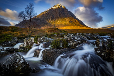 IBXSEI04810462 Small waterfall with Birch (Betula) and summit of Stob Dearg in the background, Glen Coe, Rannoch Moor, west Highlands, Scotland, Great Britain