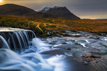 IBXSEI04810567 River Etive in foreground with summit of Stob Dearg in background, Glen Coe, Rannoch Moor, west Highlands, Scotland, United Kingdom, Europe