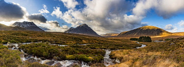 IBXSEI04810803 River Etive with summit of Stob Dearg in the background, Glen Coe, Rannoch Moor, west Highlands, Scotland, Great Britain